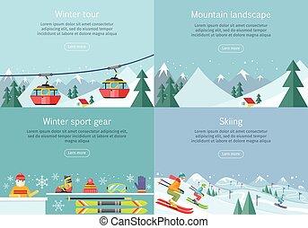 paisagem., inverno, montanha, tour., esquiando, desporto, engrenagem