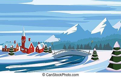 paisagem, inverno, montanhas, árvores, rio, neve, vetorial, vila, ilustração, ponte