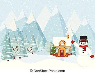 paisagem inverno, natal, caricatura, decorado, apartamento, fumaça, casa, chaminé, style., boneco neve, vem