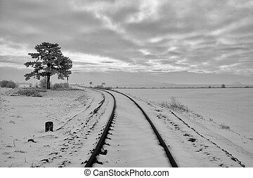 paisagem., inverno, pista, tcheco, único, república, estrada ferro