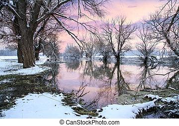 paisagem inverno, rio, zagyva