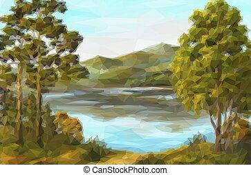paisagem, lago, árvores