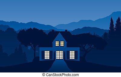 paisagem, lar, feriado, vetorial, ilustração, montanha, solitário