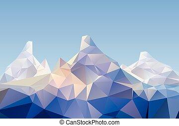 paisagem, montanha, baixo, poly