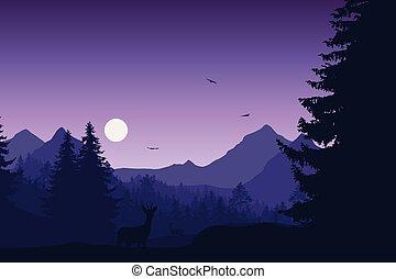 paisagem montanha, com, floresta, veado, e, corça, sob, noite, céu, com, lua, ou, sol, e, voando, pássaros