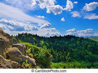 paisagem, montanha, Composição, natureza