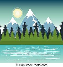 paisagem montanha, desenho, árvore pinho