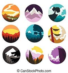 paisagem, montanha, diferente, jogo, natureza, l, vezes, selvagem, vetorial, ilustrações, paisagem, redondo, dia