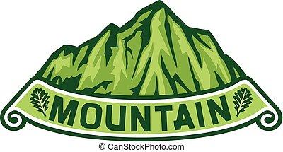 paisagem montanha, etiqueta