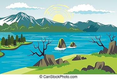 paisagem montanha, fundo, lago, beleza