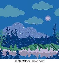 paisagem, montanha, ilustração