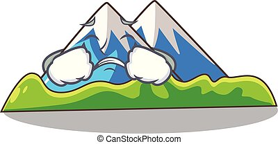 paisagem, montanha, isolado, chorando, mascote