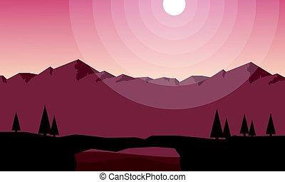 paisagem, montanha, jogo, fundo, cobrança