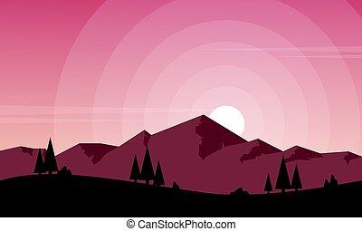 paisagem, montanha, jogo, fundo