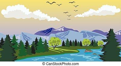 paisagem montanha, lago, beleza