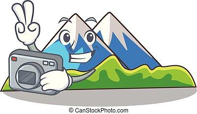 paisagem, montanha, mascote, isolado, fotógrafo