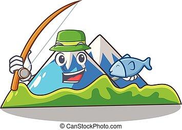 paisagem, montanha, mascote, isolado, pesca