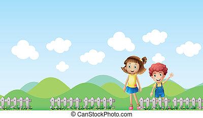 paisagem, montanha, menina, menino