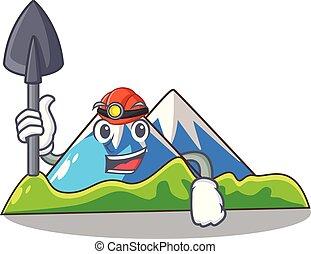paisagem, montanha, mineiro, isolado, mascote