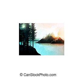 paisagem montanha, natureza, aquarela, lago, floresta, style.