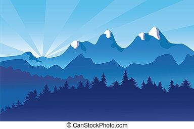 paisagem montanha, neve, alpino