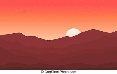 paisagem, montanha, pôr do sol, fundos