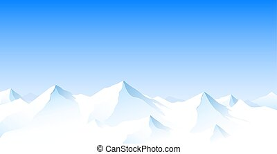 paisagem montanha, picos, nevado