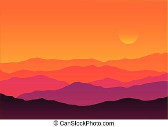 paisagem, montanha, silueta, abstratos, pôr do sol, fundo