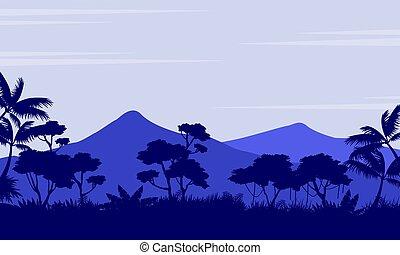 paisagem, montanha, silueta, floresta