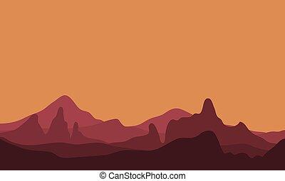paisagem, montanha, silueta