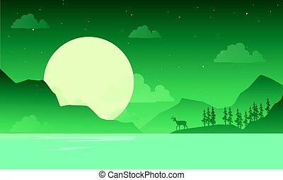 paisagem, montanha, veado, silueta, noturna