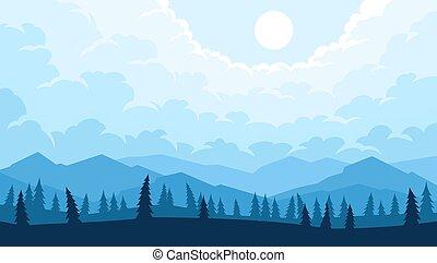paisagem, montanhas, árvores, primeiro plano, silhuetas