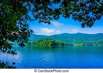 paisagem, montanhas, grande, esfumaçado, lago, santeetlah