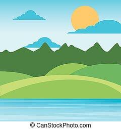 paisagem, montanhas, nuvens, colinas, natureza, sol, céu, rural, capim, paisagem