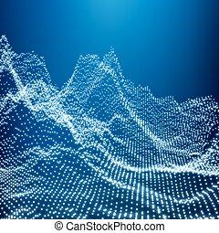 paisagem., montanhoso, fundo, pontilhado, montanha, abstratos, wireframe, 3d, poly, glowing, ciberespaço, baixo, vector., geomã©´ricas, grid., tecnologia, terrain., design.