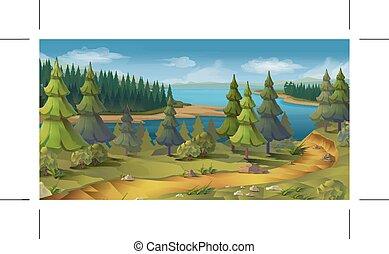 paisagem, natureza, floresta pinho, vetorial, fundo