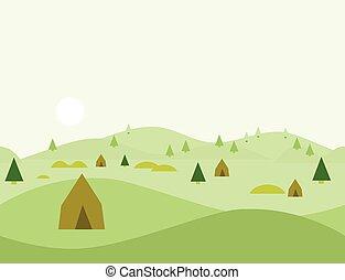 paisagem, natureza, seamless, ilustração, vetorial, caricatura