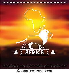 paisagem., noite, africano, fundo, étnico, savanna