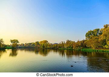 paisagem outono, com, árvores, e, lago, cidade, parque, em, pôr do sol