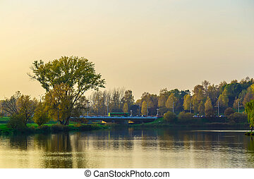 paisagem outono, com, árvores, e, lago, em, a, urbano, parque, em, pôr do sol