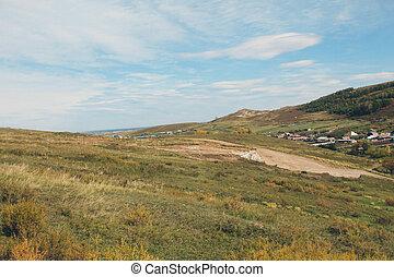 paisagem outono, de, wildlife:, montanhas, planícies, sky., russo, natureza