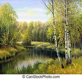 paisagem outono, lona, óleo