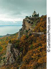 paisagem outono, vista, de, foros, igreja, em, crimea,...