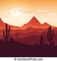 paisagem, pôr do sol, cactuses, fundo, deserto