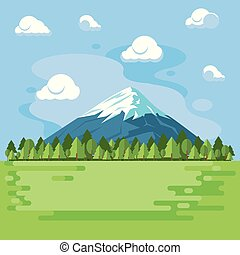 paisagem, paisagem montanha