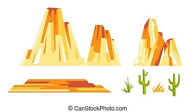 paisagem, plantas, amarela, cacto, jogo, construtor, ...