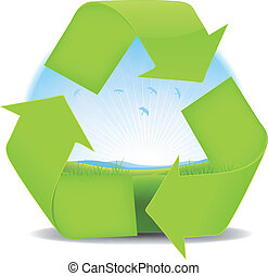 paisagem, primavera, recicle, verão, bandeira, ou