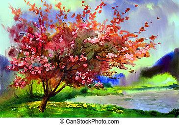 paisagem, quadro, florescer, primavera, aquarela, árvore, flowers.
