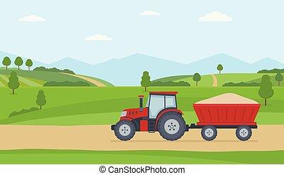 paisagem, reboque, experiência., rural, trator, vermelho