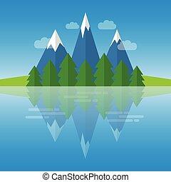 paisagem rio, montanhas, natureza, floresta